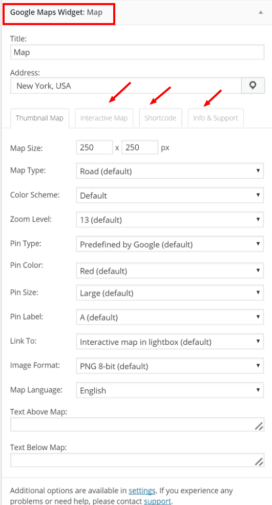Customization Options In Google Maps Widget